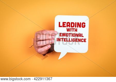 Leading With Emotional Intelligence. Speech Bubble In Woman Hand