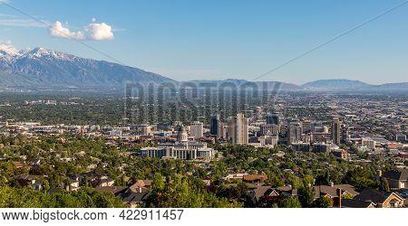 Salt Lake City, Utah, Panorama With The Capital Building Viewed From Ensign Peak