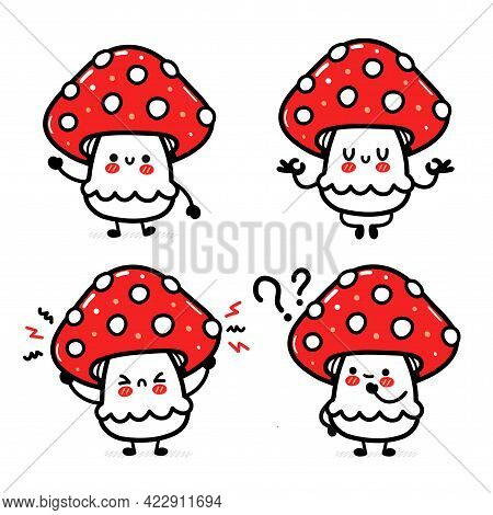 Cute Funny Happy Amanita Mushroom Set Collection. Vector Hand Drawn Cartoon Kawaii Character Illustr