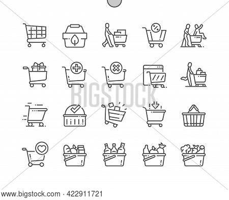 Shopping Cart. Shop, Supermarket, Marketing, Basket, Store, Retail. Eco Shopping. Pixel Perfect Vect