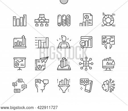 Analytics. Algorithm, Process, Filtering, Report, Statistics, Development Business. Pie Chart And Cy