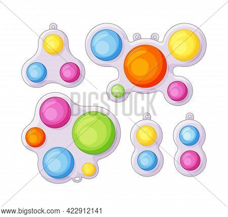 Simple Dimple Anti-stress Toys With Fidget Sensory Set In Cartoon Style. Colorful Silicone Bubbles.
