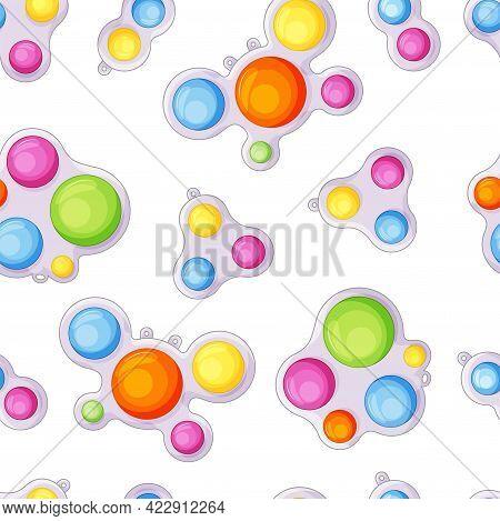 Simple Dimple Seamless Pattern. Cute Colorful Cartoon Style Antistress Sensory Toy, Bubble Fidget, P