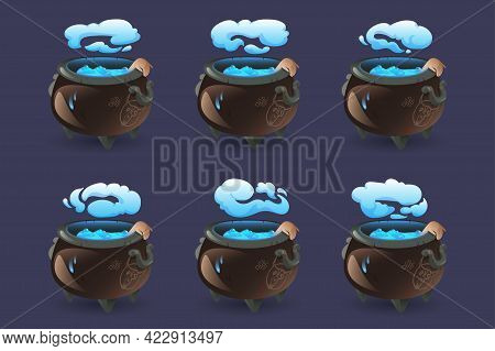 Witch Cauldron With Blue Boiling Magic Potion, Hand And Smoke. Old Cooking Boiler With Drawn Scary D