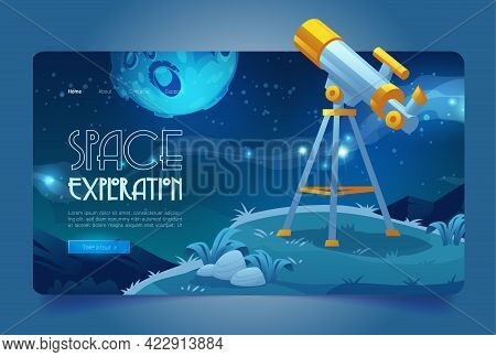 Space Exploration Banner With Telescope On Hill. Concept Of Science Discovery In Astronomy, Watching