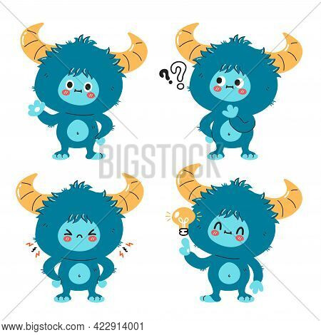 Cute Funny Yeti Monster Character Set. Vector Hand Drawn Cartoon Kawaii Character Illustration Icon.