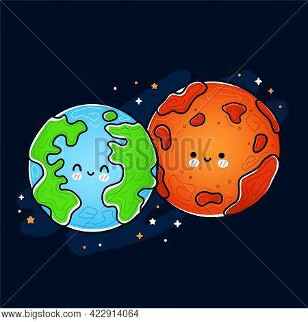 Cute Funny Happy Mars And Earth Planet. Vector Hand Drawn Cartoon Kawaii Character Illustration Icon