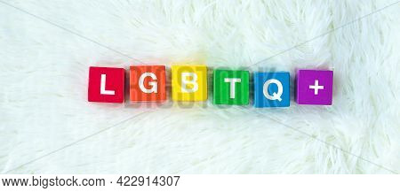 Lgbtq Rainbow Block On White Background. Support Lesbian, Gay, Bisexual, Transgender And Queer Commu