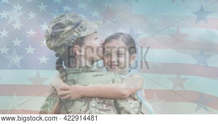 Composition of female soldier embracing smiling daughter over american flag. soldier returning home to family concept digitally generated image.