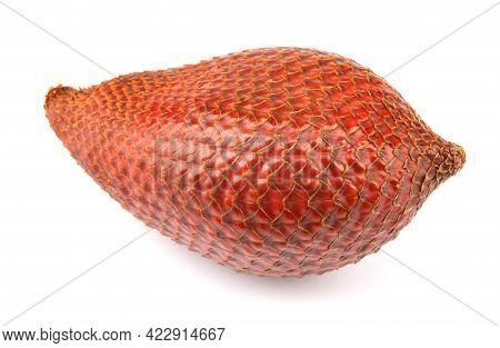 Fresh Snake Fruit Is Isolated On A White Background.red Salacca. Salak Fruit. Salacca Zalacca, Snake