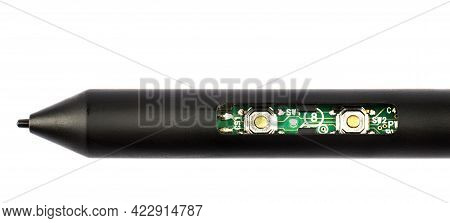 Black Digital Pen With Chips Inside On A White Background.
