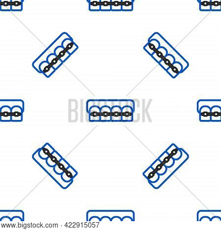 Line Teeth With Braces Icon Isolated Seamless Pattern On White Background. Alignment Of Bite Of Teet