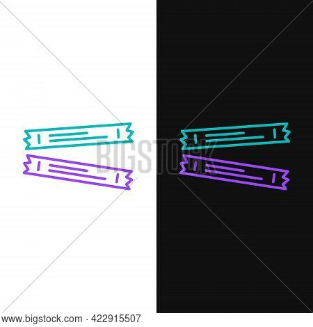 Line Sugar Stick Packets Icon Isolated On White And Black Background. Blank Individual Package For B
