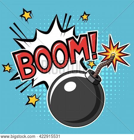 Bomb With Burning Fuse And Explosion With Boom Text In Cartoon Comic Style. Vector Illustration