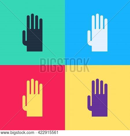 Pop Art Rubber Gloves Icon Isolated On Color Background. Latex Hand Protection Sign. Housework Clean