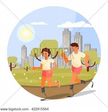 Runners With Disabilities Jogging, Running Marathon On Prosthetic Legs, Vector Illustration. Handica
