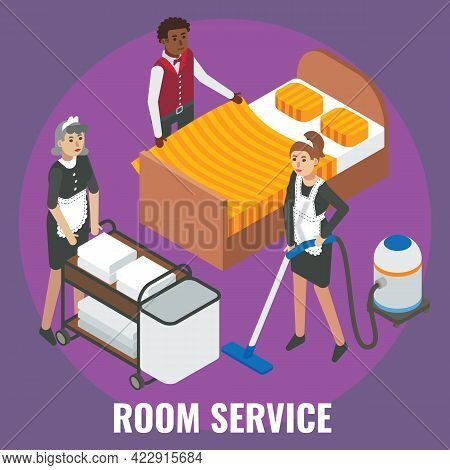 Hotel Staff Maid, Cleaner Characters Making Bed, Cleaning Room, Flat Vector Isometric Illustration.