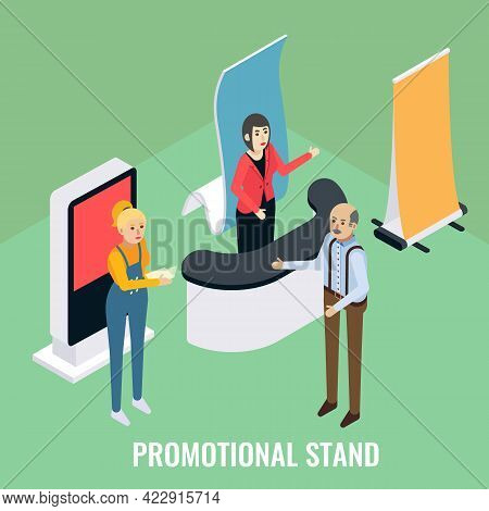 Promotional Stands. Sales Promoters Advertising Products To Customer, Vector Isometric Illustration.