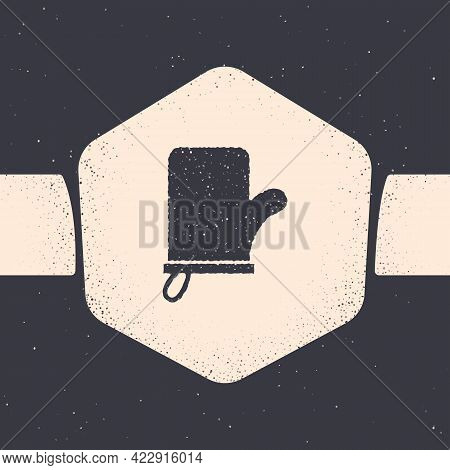 Grunge Sauna Mittens Icon Isolated On Grey Background. Mitten For Spa. Monochrome Vintage Drawing. V