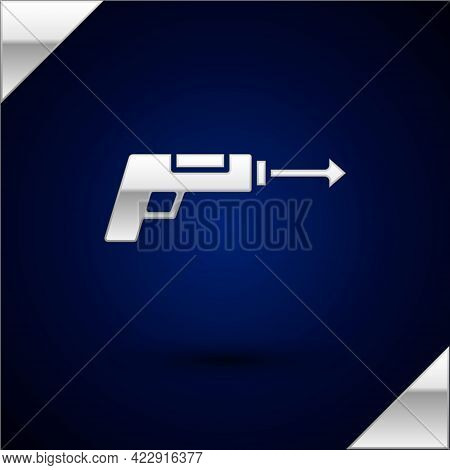 Silver Fishing Harpoon Icon Isolated On Dark Blue Background. Fishery Manufacturers For Catching Fis