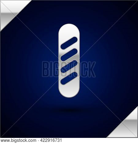 Silver French Baguette Bread Icon Isolated On Dark Blue Background. Vector