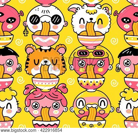 Cute Funny Noodles Eat Seamless Pattern. Vector Hand Drawn Cartoon Kawaii Character Illustration Ico