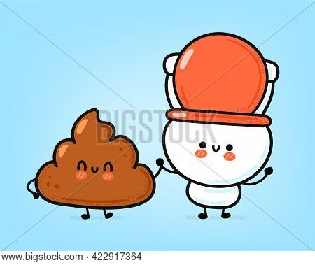 Cute Funny Happy White Toilet Bowl And Poop Character. Vector Hand Drawn Cartoon Kawaii Character Il
