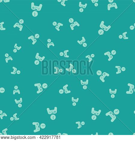 Green Gamepad Of Time Icon Isolated Seamless Pattern On Green Background. Time To Play Games. Game C