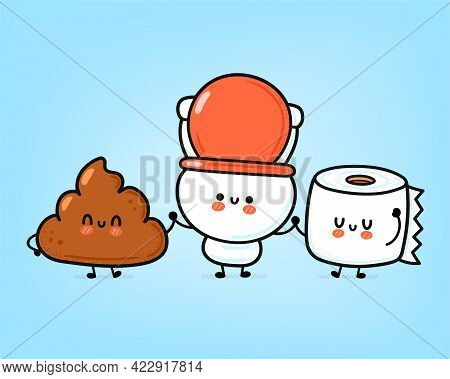 Cute Funny Happy White Toilet Bowl, Paper Roll And Poop. Vector Hand Drawn Cartoon Kawaii Character