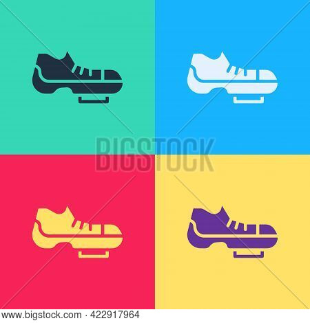 Pop Art Triathlon Cycling Shoes Icon Isolated On Color Background. Sport Shoes, Bicycle Shoes. Vecto