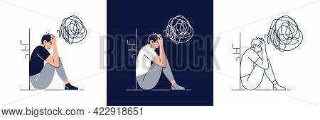 Anxiety Concept Set. Frustrated Stressed Man Feels Anxiety, Suffers From Mental Illnesses. Psycholog