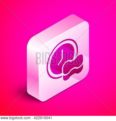 Isometric Washing Dishes Icon Isolated On Pink Background. Cleaning Dishes Icon. Dishwasher Sign. Cl