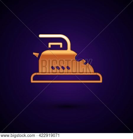 Gold Electric Iron Icon Isolated On Black Background. Steam Iron. Vector