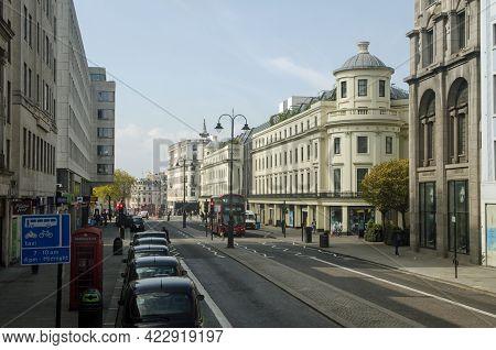 London, Uk - April 21, 2021: Slightly Elevated View Along The Strand Looking Towards Trafalgar Squar