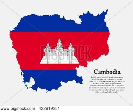 Vector Asia Map Cambodia Made Country Flag