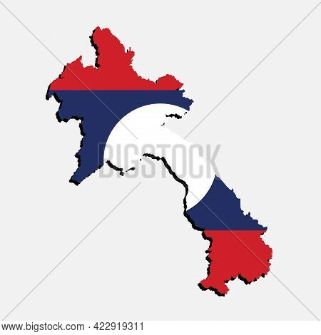 Vector Asia Map Laos Made Country Flag
