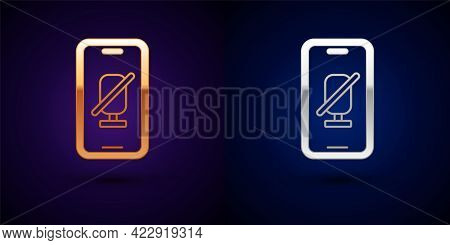 Gold And Silver Mute Microphone On Mobile Phone Icon Isolated On Black Background. Microphone Audio