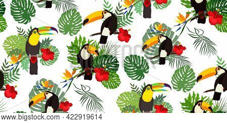 Tropical Seamless Pattern With Bright Tropical Bird Toucan, Green Jungle Palm, Monstera Leaves, Hibi