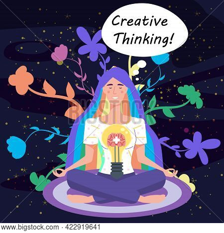 Girl With Bulb, Idea. Creative Thinking Yoga Girl. Solution To A Problem. Positive Thinking, Creativ