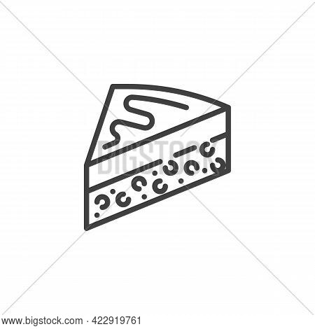 Slice Of Cake Line Icon. Linear Style Sign For Mobile Concept And Web Design. Cheesecake Slice Outli