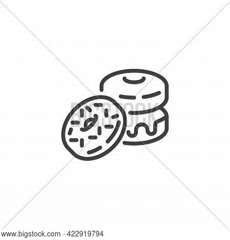 Glazed Donut Line Icon. Linear Style Sign For Mobile Concept And Web Design. Sprinkled Donut Outline