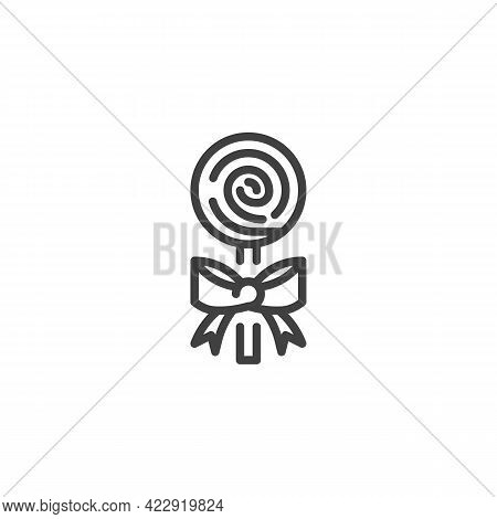 Swirl Lollipop Line Icon. Linear Style Sign For Mobile Concept And Web Design. Swirl Candy Stick Wit