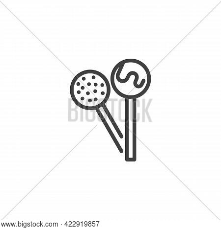 Lollipop Candy Line Icon. Linear Style Sign For Mobile Concept And Web Design. Lollipops On Stick Ou