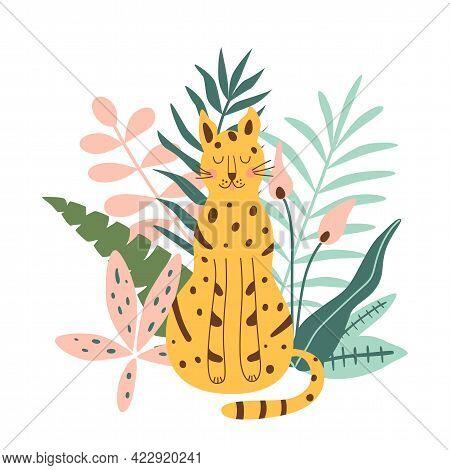Jungle Jaguar. Rainforest Jaguar. Cute Jungle Leopard. African Wilc Cat Under Tropical Jungle Leaves