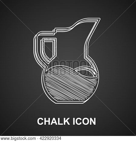 Chalk Milk Jug Or Pitcher Icon Isolated On Black Background. Vector