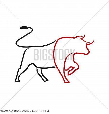 Illustration Vector Graphic Of Line Art Bull Logo