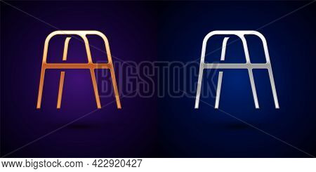 Gold And Silver Walker For Disabled Person Icon Isolated On Black Background. Vector