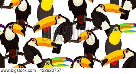 Tropical Seamless Pattern With Toucan Parrot Birds. Vector Illustration For Summer Design Tropical P