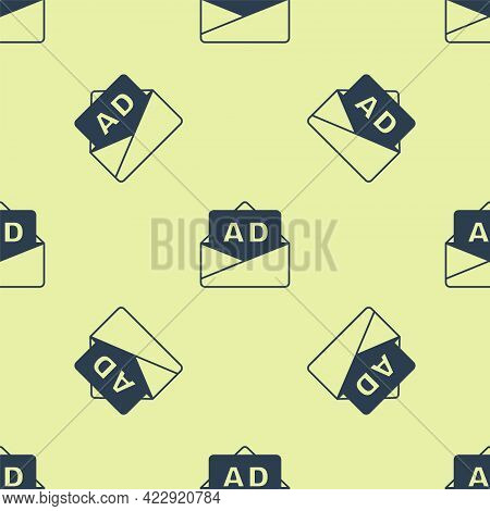 Blue Advertising Icon Isolated Seamless Pattern On Yellow Background. Concept Of Marketing And Promo