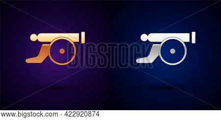 Gold And Silver Ramadan Cannon Icon Isolated On Black Background. Vector